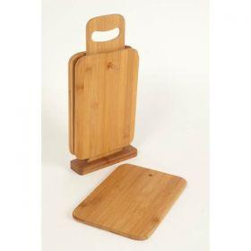 Dosky servírovacie drev.+stojan, 4ks