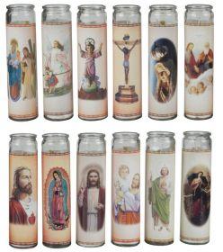Náboženská sviečka v skle
